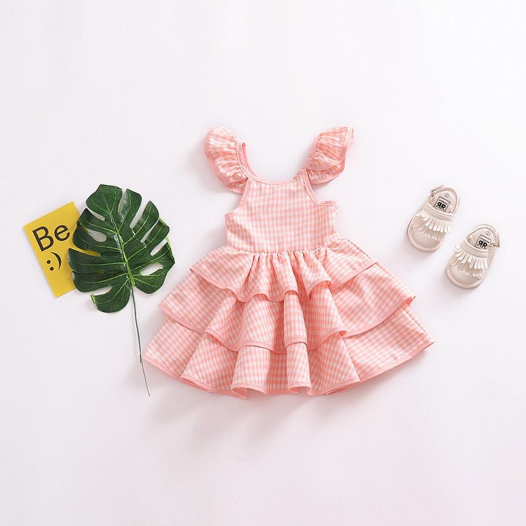 5b4d7d4277fe Amazon.com  TiTCool Toddler Little Girls Princess Dress Gingham 3 Ruffle  Layers Cap Sleeve Cute Dress