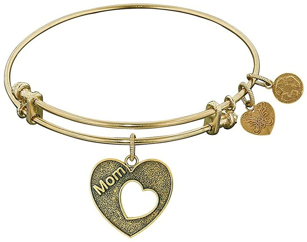 Adjustable Angelica 7.25 Yellow Stipple Finish Brass Heart with MOM Open Heart Bangle Bracelet