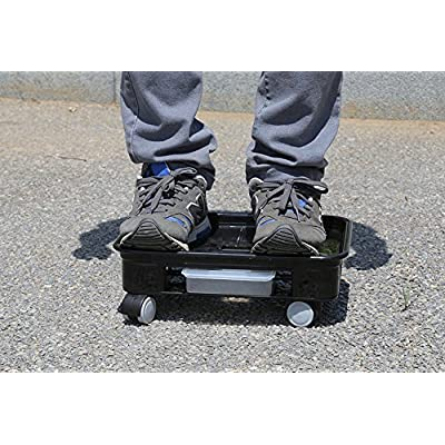 LANGYASHAN Square Plant Saucer Caddy Plant Dolly with Omni Wheels and Removable Water Tray(4#, Black): Garden & Outdoor