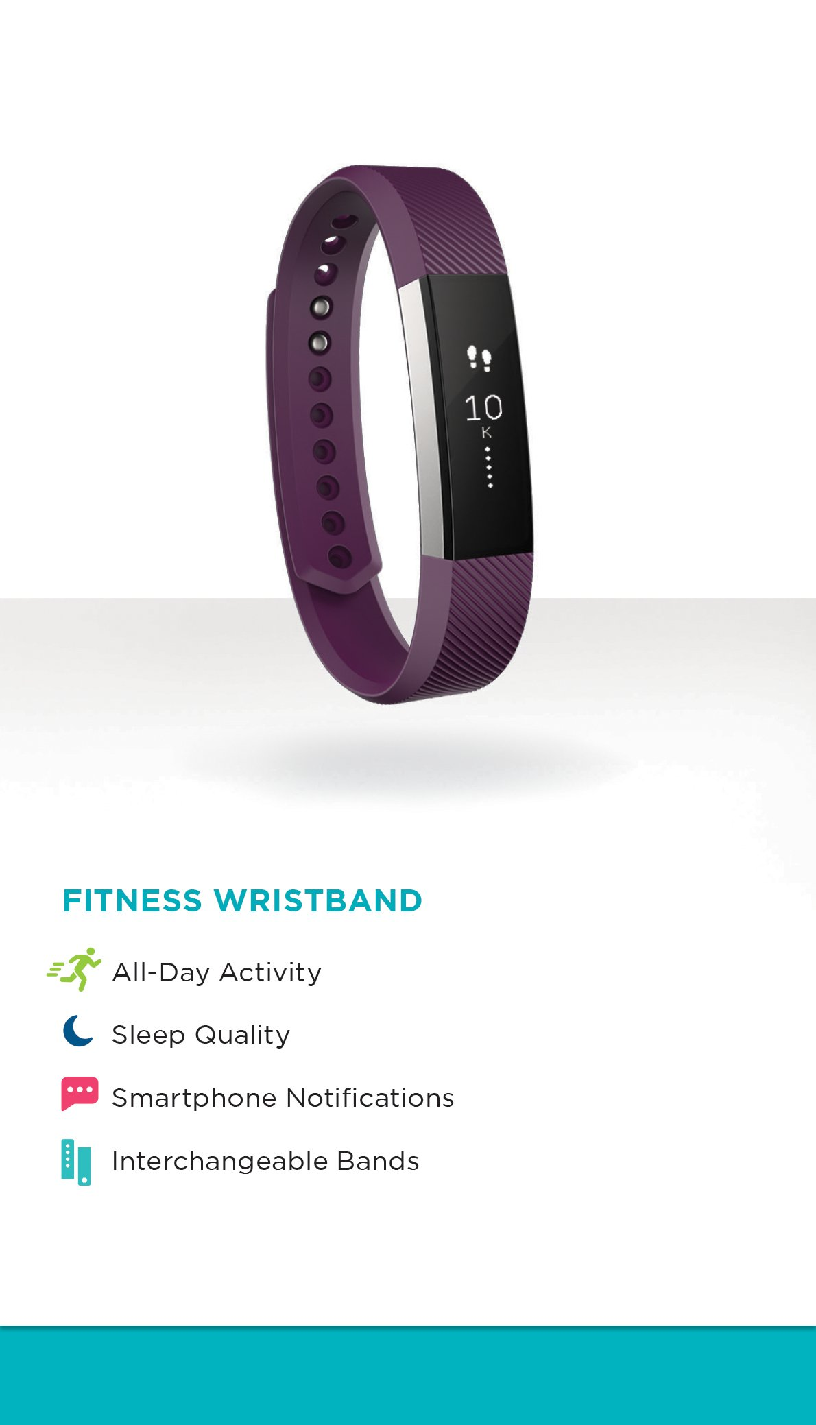 Fitbit Alta Fitness Tracker Silver Plum Large Us Version Size