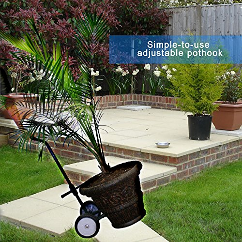 """- Potted Plant And Pot Instant Mover Lifting Equipment Trucks Steel Carry Heavy Pots Easily With 8"""" Poly Flat Free Wheels And Adjustable Pot Hook Wheel System"""
