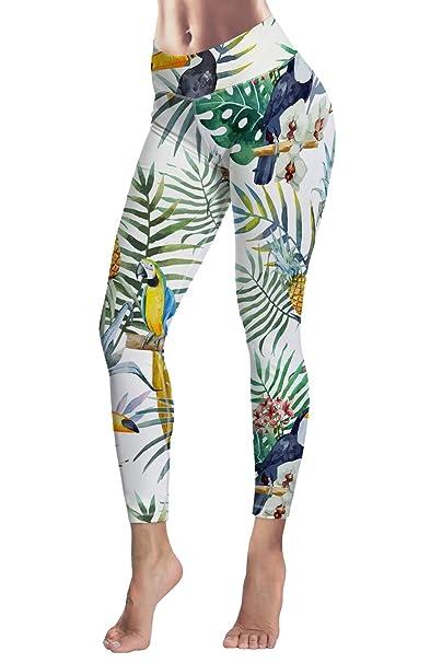 dc2d3c2d96 COCOLEGGINGS Women's Girls Pineapple Leaves Print Fitness Yoga Tights White  S