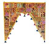 Rastogi Handicrafts Patchwork Embroidered Window Valence Door Hanging Bandhanwar Toran Home Decorative (YELLOW)