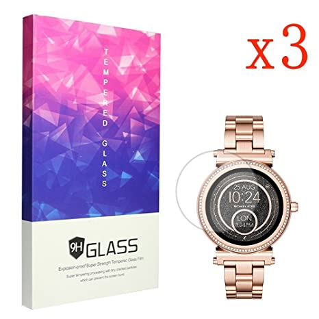 Ceston 9H Protection Ecran En Verre Trempé Pour Michael Kors Smartwatch Sofie (3 Pack): Amazon.fr: High-tech