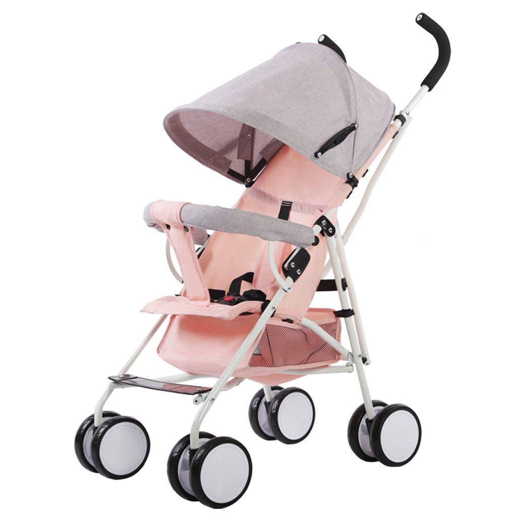 ベビーカー、灰色/ピンク/グリーン/ダークグリーン、61 * 35 * 96センチメートル軽量折りたたみポータブルトロリー傘 ( Color : Pink ) B07BWFL8J7