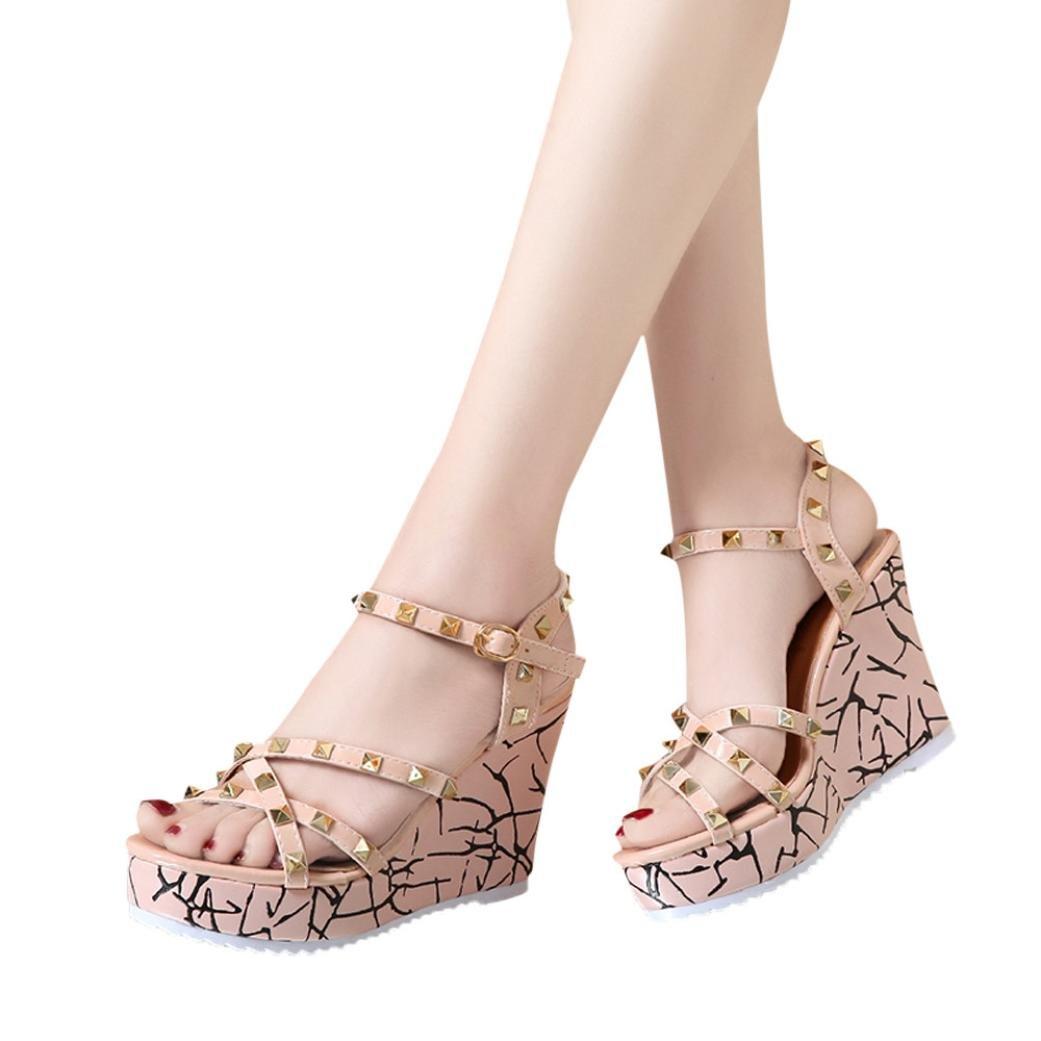 Clearance Women Wedge Sandal,Elegant Rivet Bohemia Shining Rhinestones Flip Flop Sandals High Heels Slide Ankle Strap Thong Slipper Strappy Girl Summer Roman Dress Shoes (Size 7, Pink)