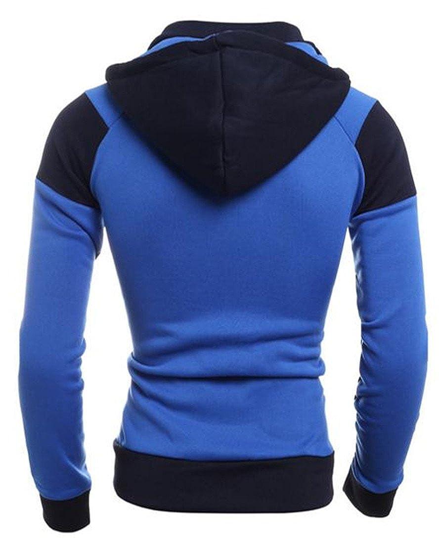 Agana Mens Sweatshirt Classic Zipper Hoodie Color Block Drawstring Outwear