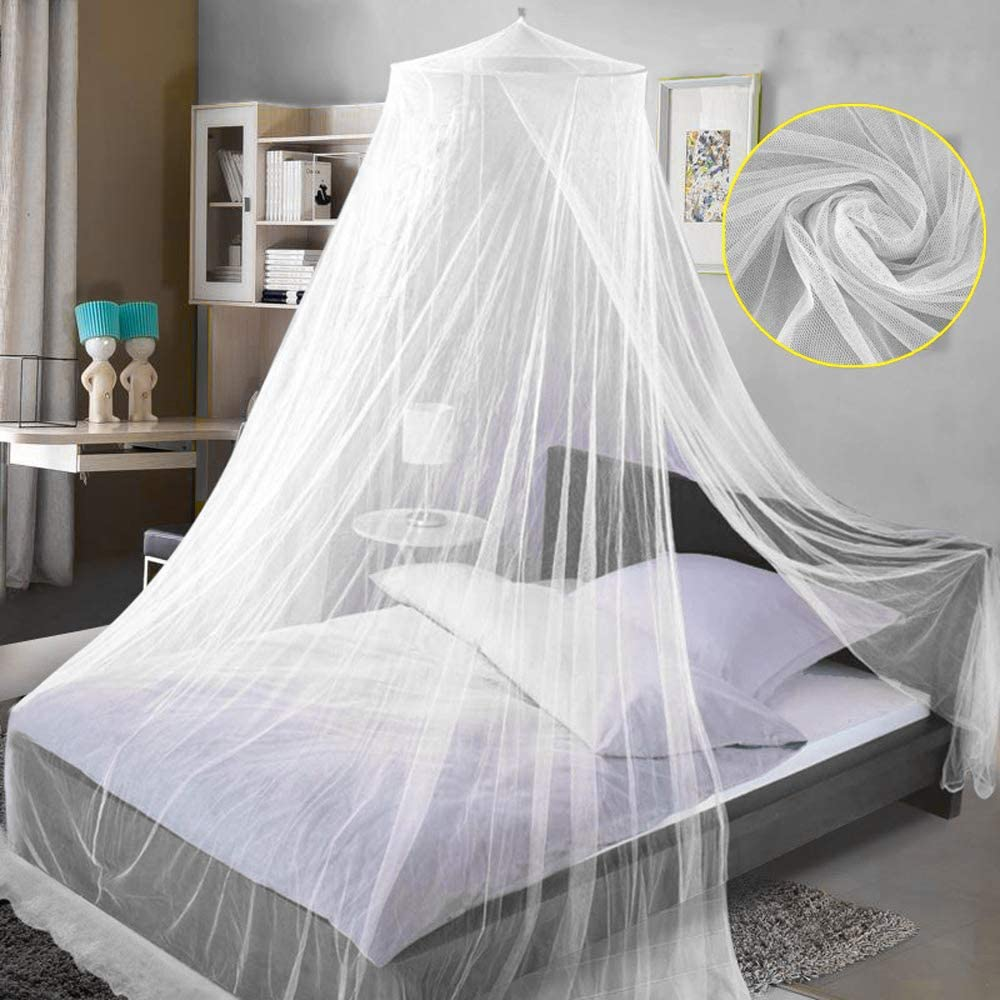 White Net for Travel and Home Bed Canopy for Double and Single Bed Universal Dome Mosquito Net Mosquito Mesh Net Bed Tent with Adhesive Hook Travel Bag