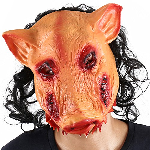 Halloween Mask Scary Pig Saw Costumes Props for Adults Women Men Animal Cosplay Party Supply Haunted Houses -
