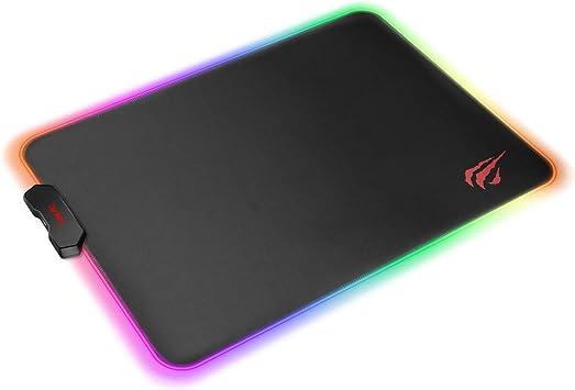 havit Alfombrilla de Raton Gaming RGB 350 * 250 * 4 mm Teclado extendido Extra Grande para Escritorio con Base de Goma Antideslizante para Gamers, PC ...