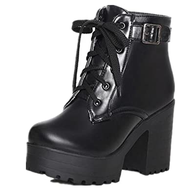 Image result for HAPPYLIVE SHOPPING Women's Winter Fashion Waterproof Platform Combat Ankle-High High-Heel Chunky Boots, Lace-up Martin Boots