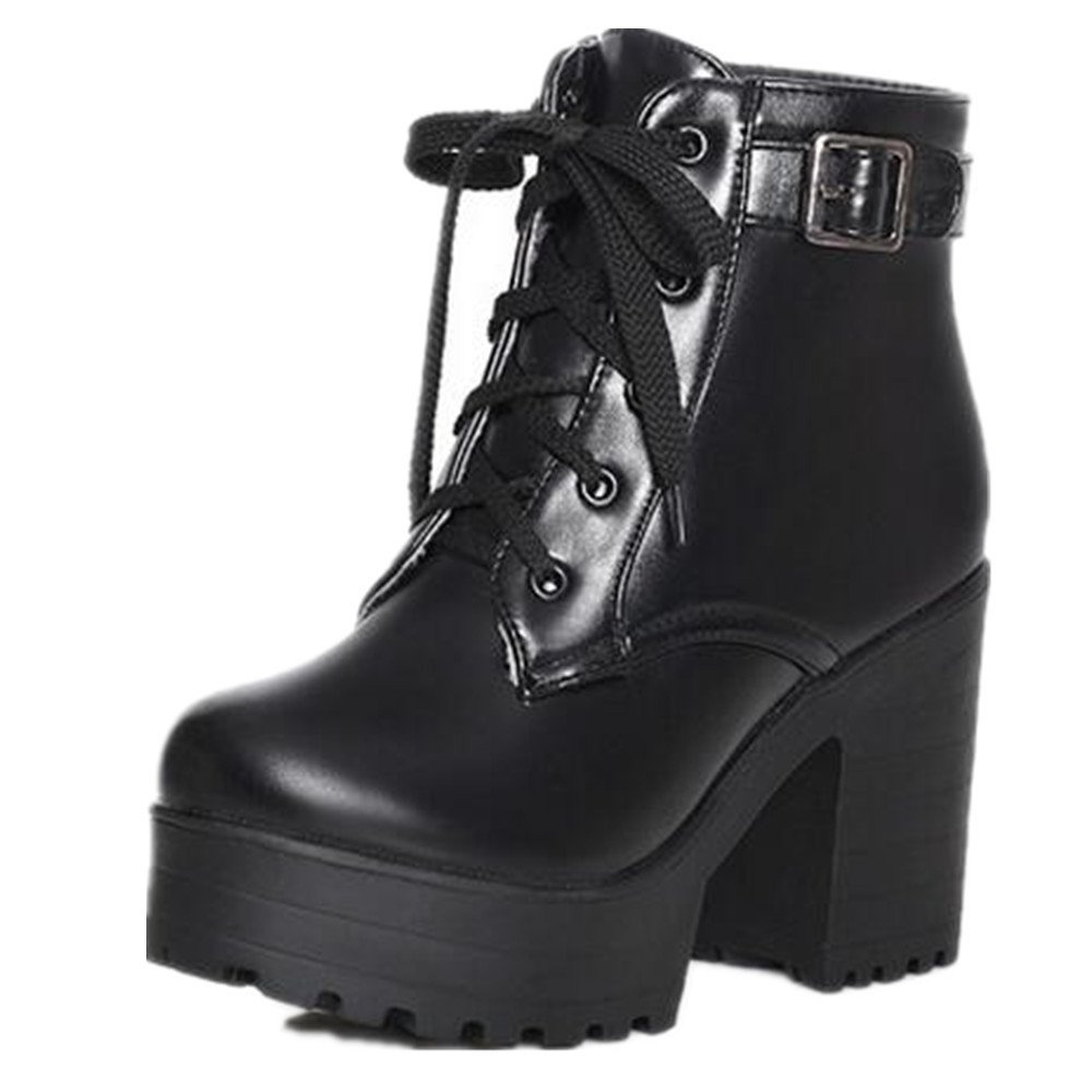 HAPPYLIVE SHOPPING Women's Winter Fashion Waterproof Platform Combat Ankle-High High-Heel Chunky Boots, Lace-up Martin Boots (10 US 41EU, Black)