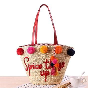 7d0c8c66b8792 Meaeo Frauen Handtaschen Strandtasche Frauen Stroh Beutel Sommer Style  Handtaschen Der Frauen Ringförmige Griff Tasche Taschen