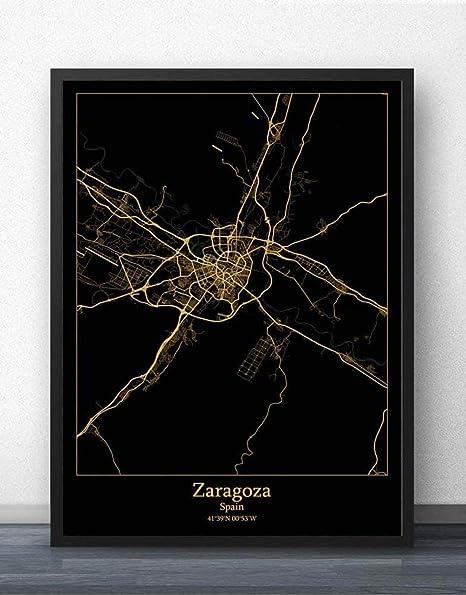 Impresión De Lienzo,Mapa De La Ciudad De Zaragoza España Imprimir En Blanco Y Negro Lienzo De Texto Simple Cartel Mural De Pintura Sin Cerco Salón Cafetería En La Decoración Del Hogar,70×100Cm.: Amazon.es:
