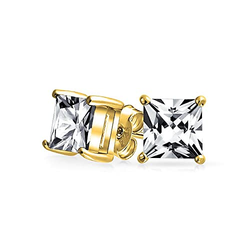 80e42757e Image Unavailable. Image not available for. Color: 3 CT Square Cubic  Zirconia Solitaire Princess CZ Cut Stud Earrings Basket Set 14K Gold Plated