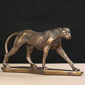 Statues Figurines Sculptures,Leopard Resin Sculpture Vintage Handmade Polyresin Cheetah Statue Animal Ornament Craft Furnishing for Business Gift,Enjoy The Home Decor Art Collection.