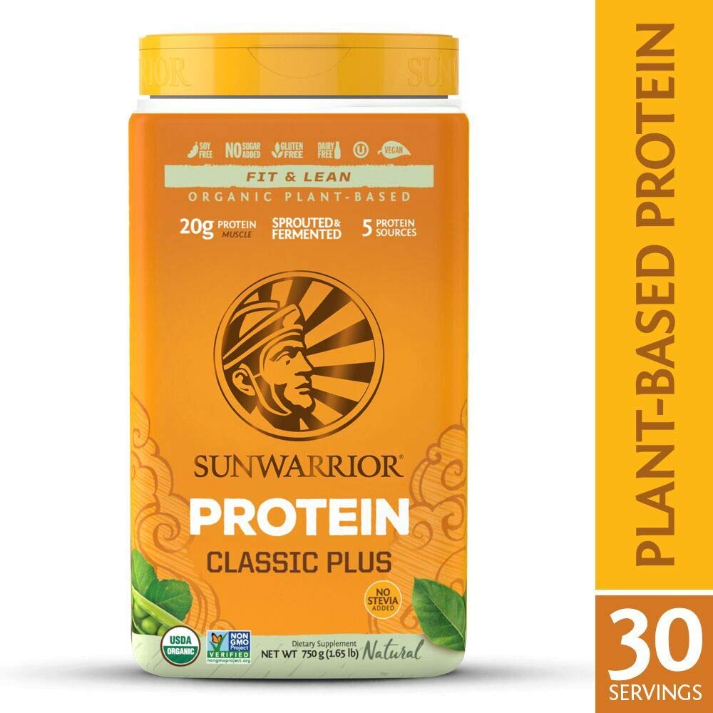 Sunwarrior - Classic Plus, Vegan Protein Powder with Peas & Brown Rice, Raw Organic Plant Based Protein, Natural, 30 Servings