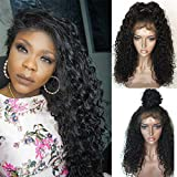 Jessica Hair Black Women Curly Brazilian Virgin Hair Lace Front Wigs Human Hair Wigs Glueless with Baby Hair(12 inch with 150% density)