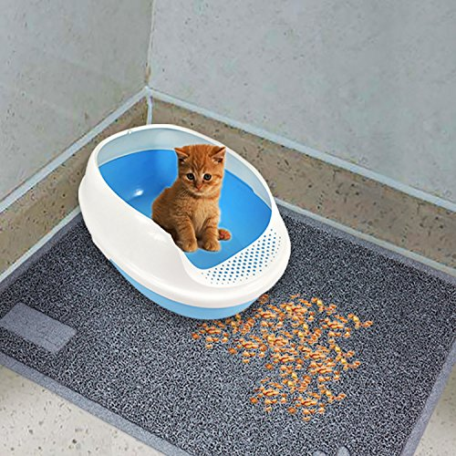 Cat Litter Mat, Large Free washable, rectangles with rounded corners Grey, Soft and easy to clean