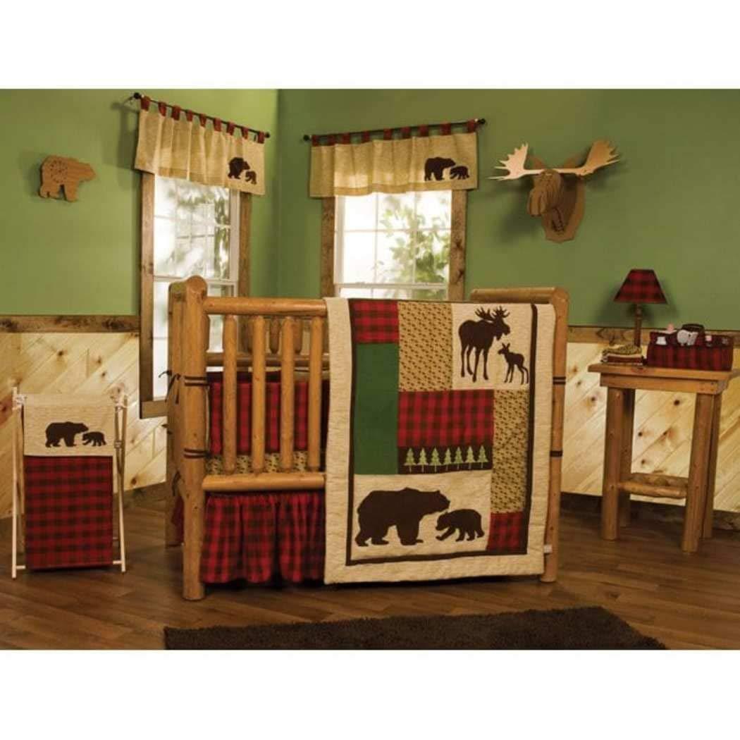 5 PieceベビーブラウングリーンレッドSouthwest Tribalベビーベッド寝具セット、新生児動物テーマ子供部屋ベッドセット、幼児子ムース鹿Bear Nature Checkered毛布掛け布団、綿ポリエステル   B07C66PM5K