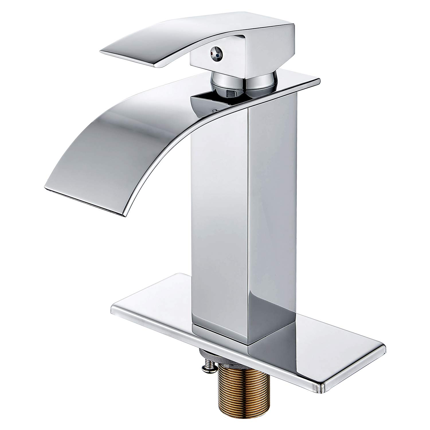 HOROW Chrome Waterfall Bathroom Faucet Single Handle One Hole Deck Mount Lavatory with 4 inch Centerset Deck Plate Escutcheon by HOROW