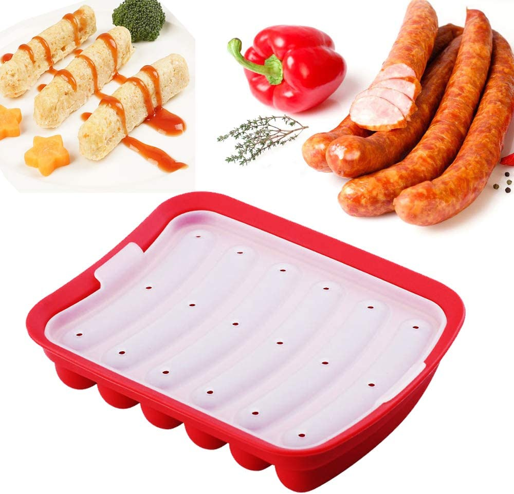 Silicone Sausage Mold Non-Stick, DIY Children's Hot Dogs Baking Mold for Egg Sausage and Baby's Supplementary Sausage Mold, lce Candy Jelly Chocolate Mould