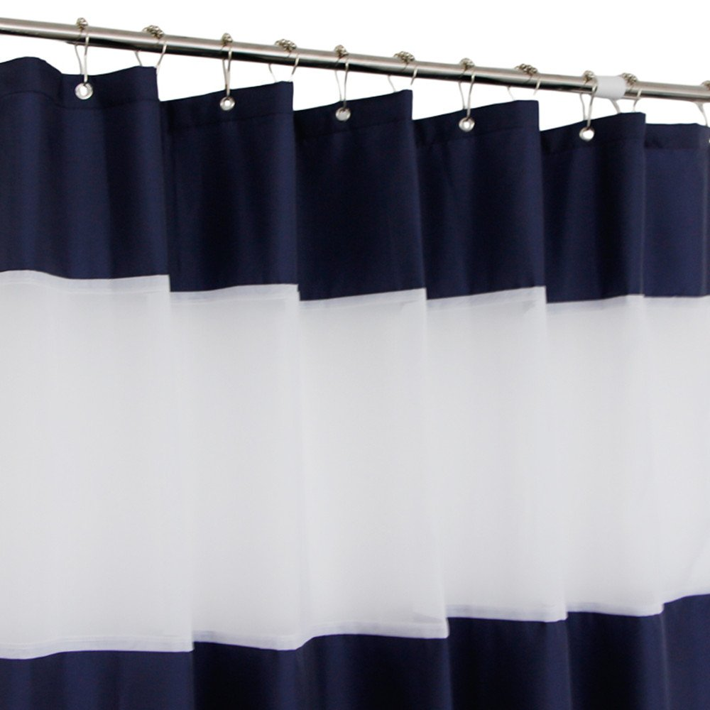 36x72 Inch Stall Size Shower Curtain Polyester Bathroom Rustproof Metal Water