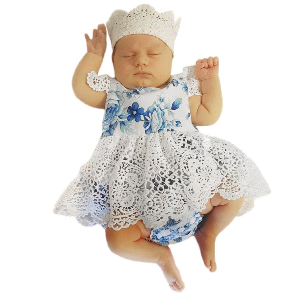Efaster Summer Newborn Baby Girls Sleeveless Lace Floral Print Romper Dress (12-18 M)