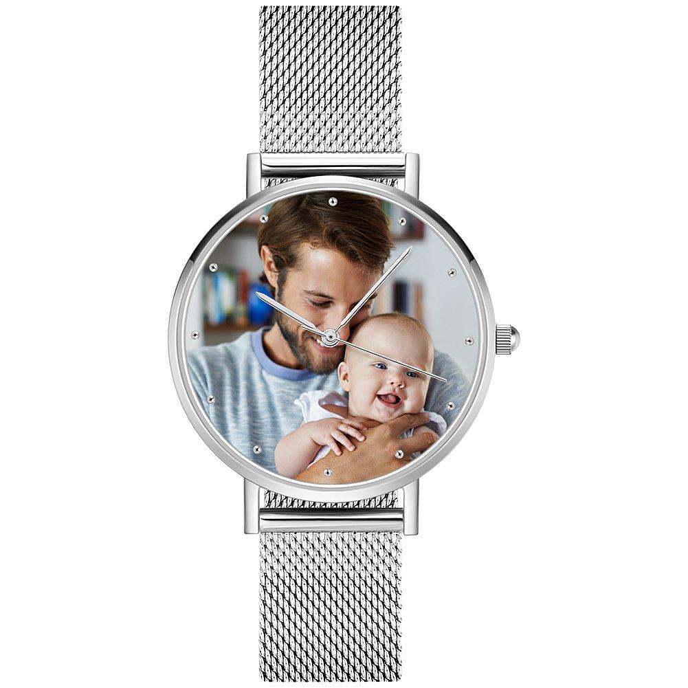SOUFEEL Personalized Watches Silver Waterproof Wrist Watch Couple Custom Photo Watch for Women Men 40mm by SOUFEEL