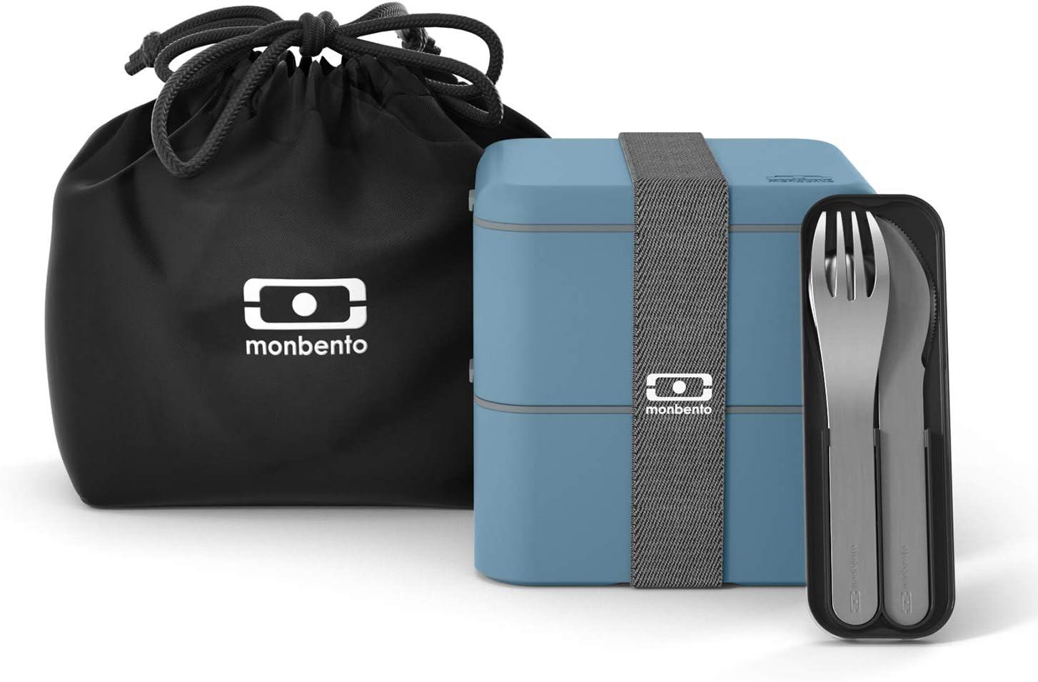 monbento - Pack Lunch Box Azul Denim - con MB Square Azul Denim Fiambrera Lunch Box, MB Pocket Negro Cubiertos para Llevar con Estuche Biodegradable y Bolsa Fiambrera MB Pochette Negro