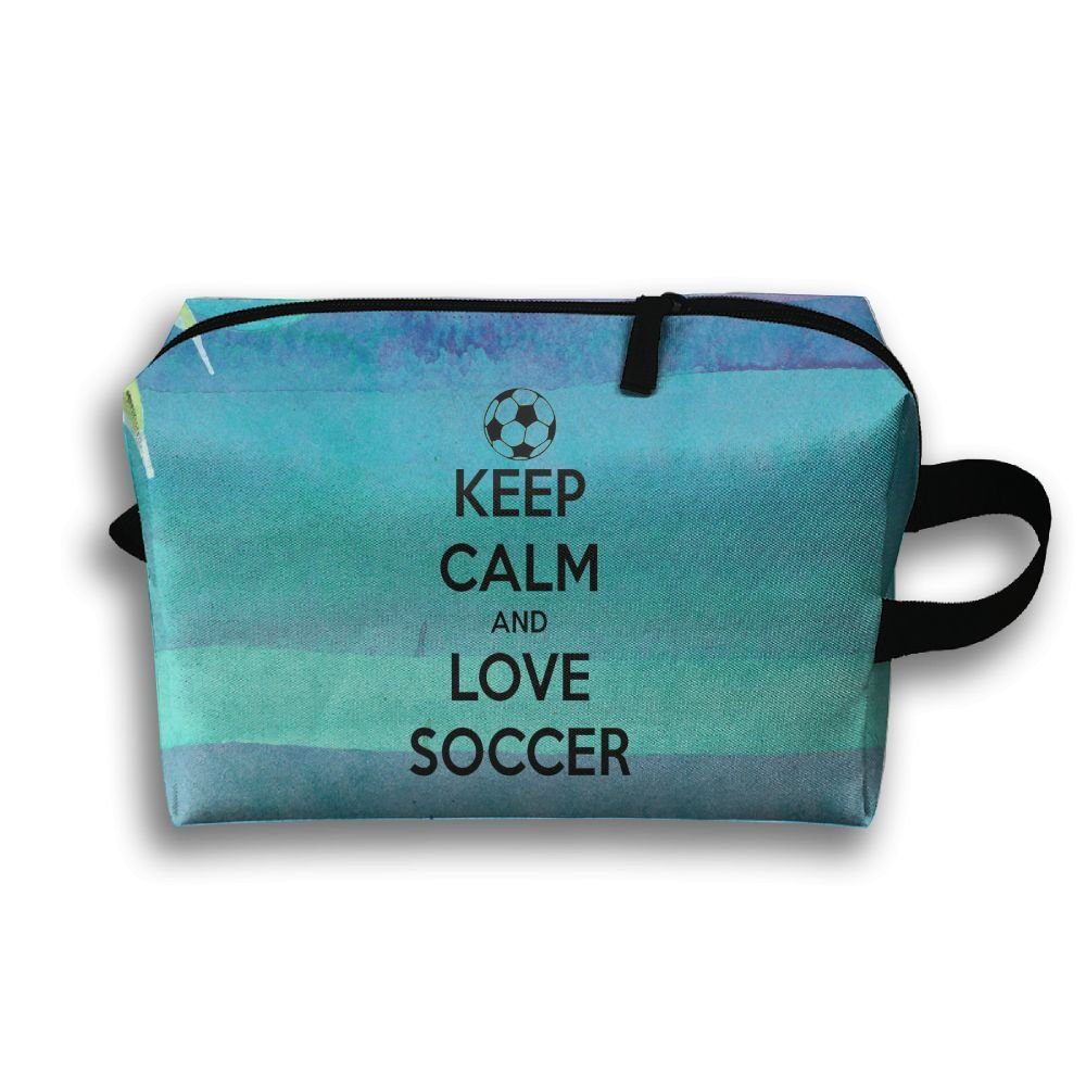 Keep Calm And Love Soccer Travel Bag Multifunction Portable Toiletry Bag Organizer Storage