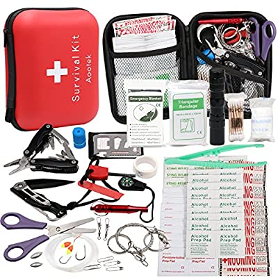 Aootek Survival Kit Emergency SOS Survive Tool Pack for Camping Hiking Hunting Biking Climbing Traveling and Emergency by Aootek