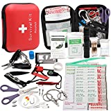 Upgraded 188 Pcs first aid kit survival Kit.Emergency Kit earthquake survival kit Trauma Bag for Car Home Work Office Boat Camping Hiking Travel or Adventures