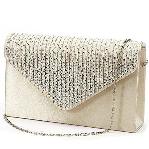 Jubileens Ladies Large Evening Satin Bridal Diamante Ladies Clutch Bag Party Prom Envelope (champagne) -