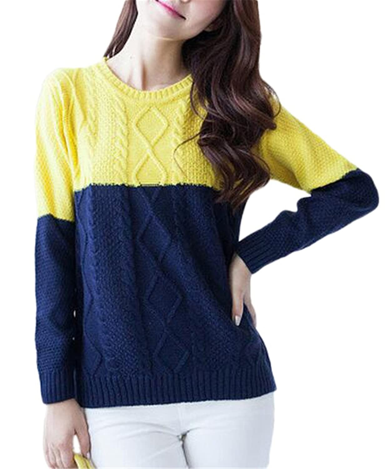 Women's Slim Round Neck Knitted Jacquard Long Sleeve Sweater Pullover