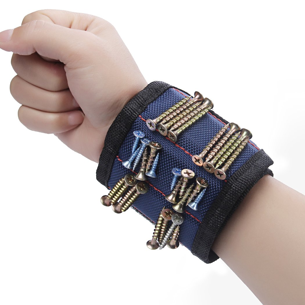 Magnetic Wristband, Preciva Super Strong Magnets Surround Almost Entire Wrist for Holding Screws, Nails, Drill Bits,Blue (1-pack)