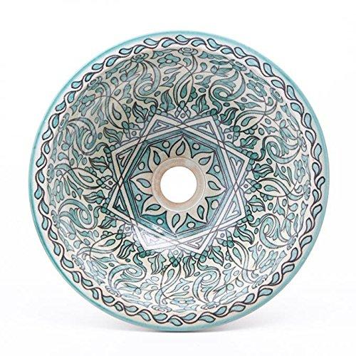 'Ø 35cm lavabo in ceramica fatto a mano mano a manofes74in Marocco Casa Moro