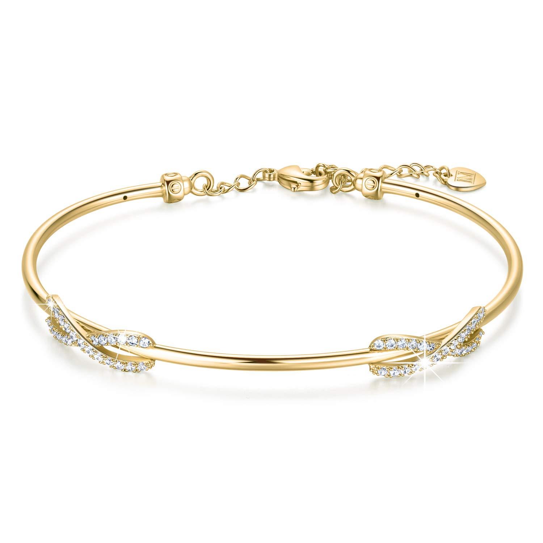 NINAMAID Cubic Zirconia Double Infinity Symbol Bangle Bracelet Oval Shaped Cuff Gold Plated Women Jewelry (Gold)