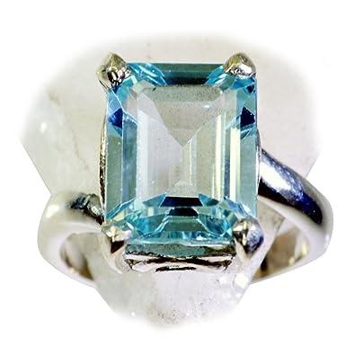 Amazon com: 55Carat Natural Blue Topaz Ring 925 Silver