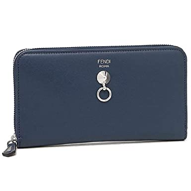 3500aa6b54a2 Fendi By The Way Navy Blue Leather Full Zip Wallet 8M0299-F0KR1 at ...