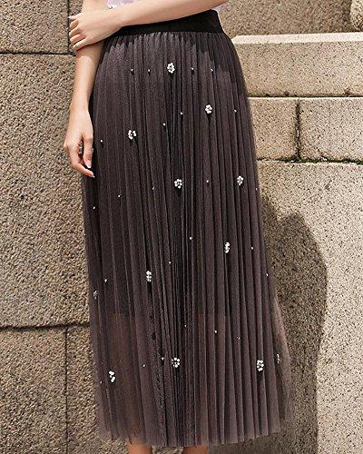 Jupe Haute A Ligne Perles Pendule Tulle Maxi Fonc Gris Grand Femme Taille Longue rCwt8qrFf