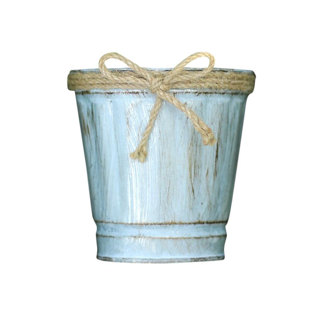 bestpriceam Vintage Metal Iron Keg Flower Pot Hanging Balcony Garden Plant Planter Decor Pot