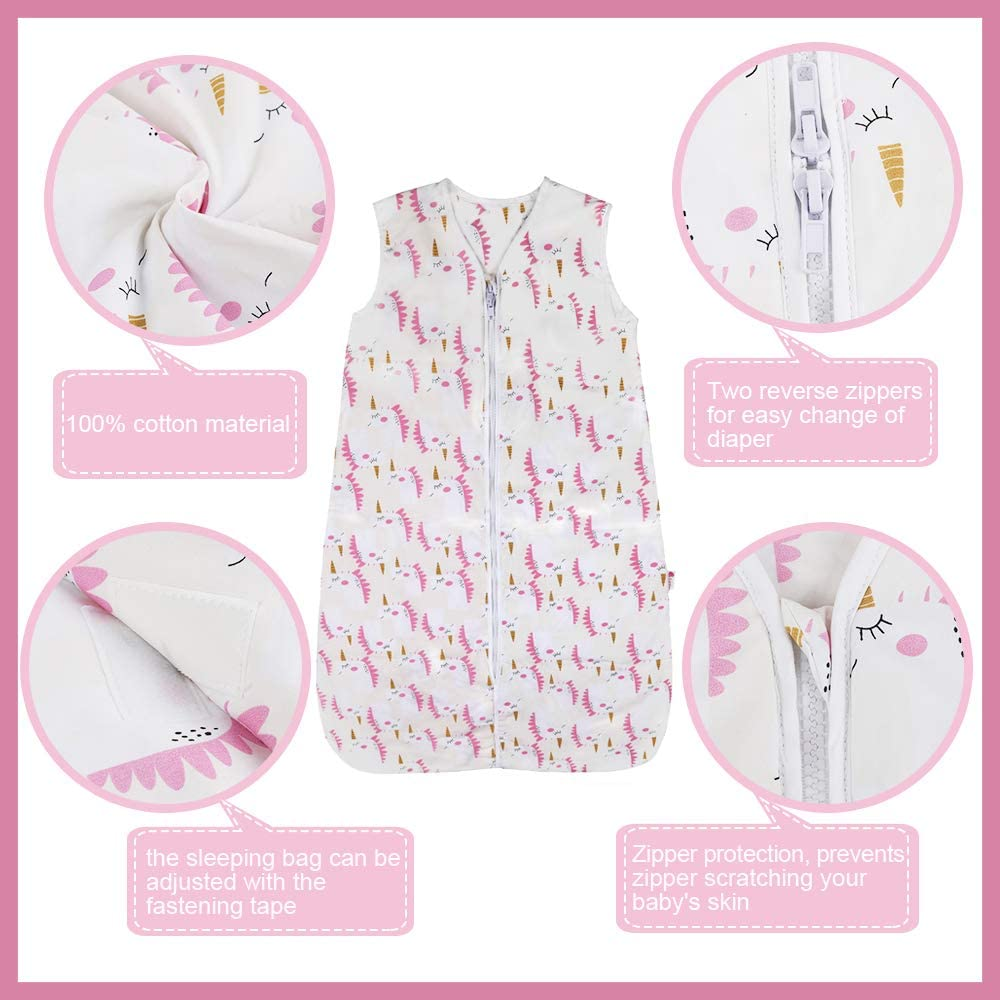 Baby Grow Bag Swaddle Wrap with Adjustable Length 70-90cm for Infant Toddler 3 to 18 Months Soft Warm Baby Sleeping Sack Wearable Blanket 1.0 Tog Lictin Baby Sleeping Bag