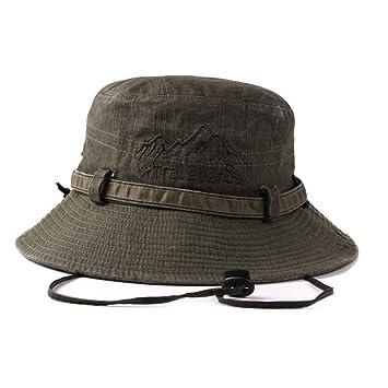 ZHRUI Hombres Cowboy Bucket Hat Fishman Gorras Planas Polo Pesca Exterior Sun Hat (Color : Amy Green, tamaño : 56-58cm): Amazon.es: Hogar