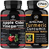 Apfel Cider Vinegar Pills for Weightloss and Turmeric Curcumin [2 Pack Bundle] Natural Detox Remedy Includes Gymnema, Garcinia, & BioPerine for Complete Diet and Health - Best Starter Kit or Gift.