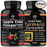 Apple Cider Vinegar Pills for Weightloss and Turmeric Curcumin [2 Pack Bundle] Natural Detox Remedy Includes Gymnema, Garcinia, & BioPerine for Complete Diet and Health - Best Starter Kit or Gift.