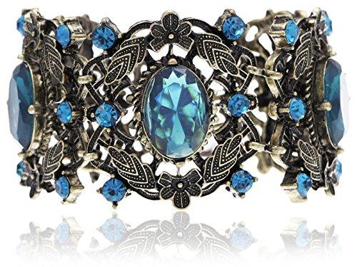 Alilang Antique Bronze Tone Shiny Blue Rhinestones Flowers Leaf Bangle Bracelet