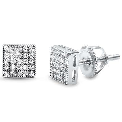 8fb1c11b3032f Amazon.com: 6mm Square Stud Earrings Unisex Men Women Round Pave ...