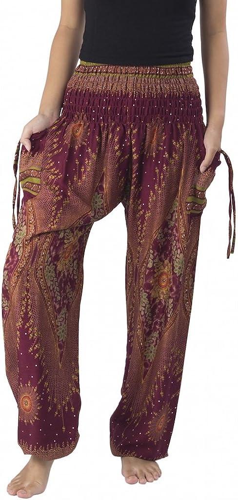 Lannaclothesdesign Women's Smocked Waist Boho Flowy Yoga Harem Pants