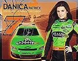 2X AUTOGRAPHED 2011 Danica Patrick & Dale Earnhardt Jr. #7 GoDaddy Racing (Jr Motorsports) Nationwide Rookie Signed 9X11 NASCAR Hero Card with COA